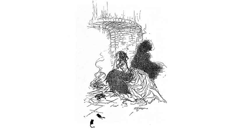 Pen and Ink drawing of Cinderella beside a stone fireplace